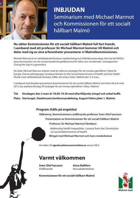 Seminarium med Michael Marmot och Kommissionen för ett socialt hållbart Malmo