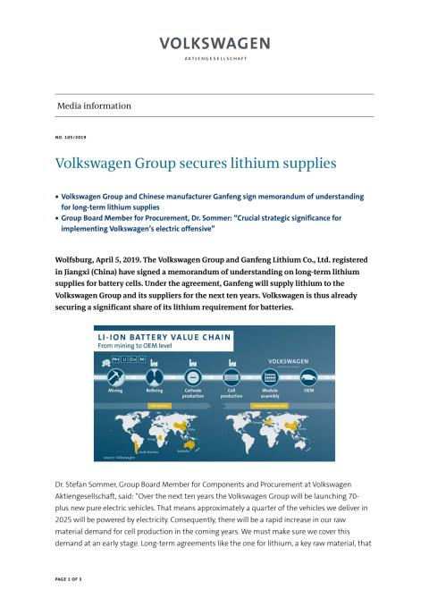 Volkswagen Group secures lithium supplies