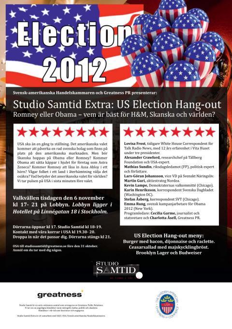 6 dagar till valet, 1 dag till OSA-datum för Studio Samtid Extra: US Election Hang-out