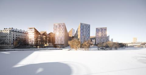 Idéskiss nya bostadshus på Tekniska nämndhusets tomt Kungsholmen