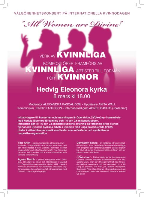 All Women are Divine - välgörenhetskonsert på internationella kvinnodagen