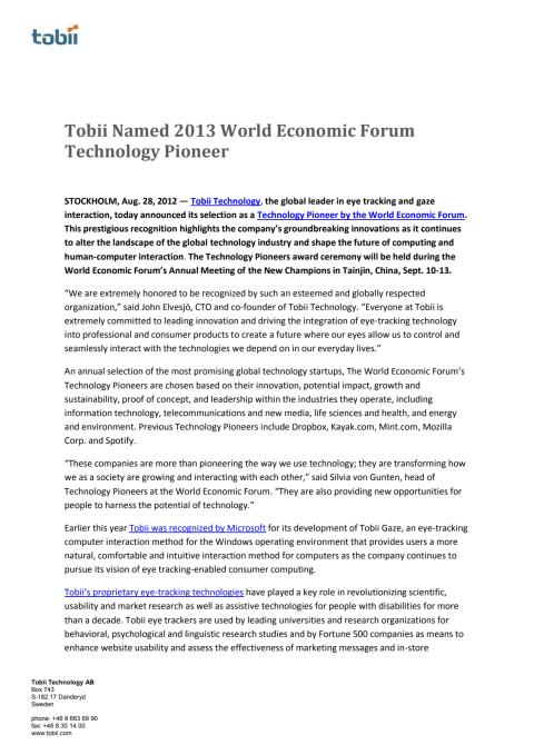 Tobii Named 2013 World Economic Forum Technology Pioneer