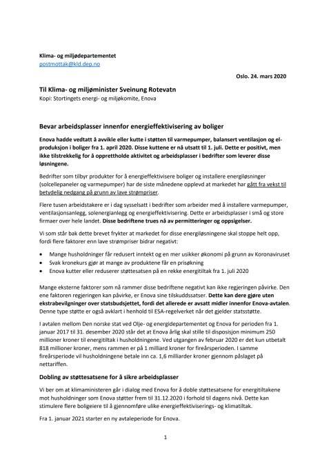 Brev fra 11 organisasjoner - ber klimaministeren doble Enovastøtte til energitiltak