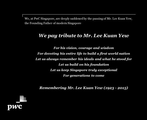 PwC Singapore pays tribute to Mr. Lee Kuan Yew