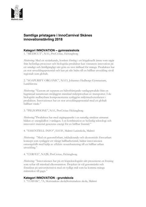 Samtliga pristagare i InnoCarnival Skånes innovationstävling 2018