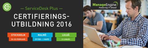 ServiceDesk Plus Certifieringsutbildning 2016