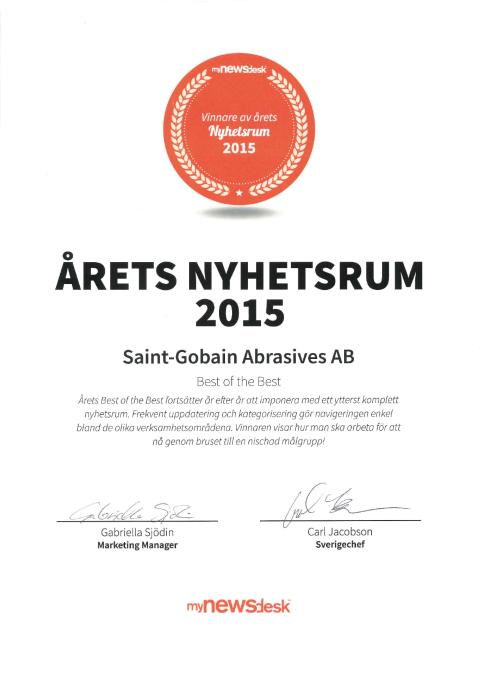 Årets Nyhetsrum 2015 - Diplom