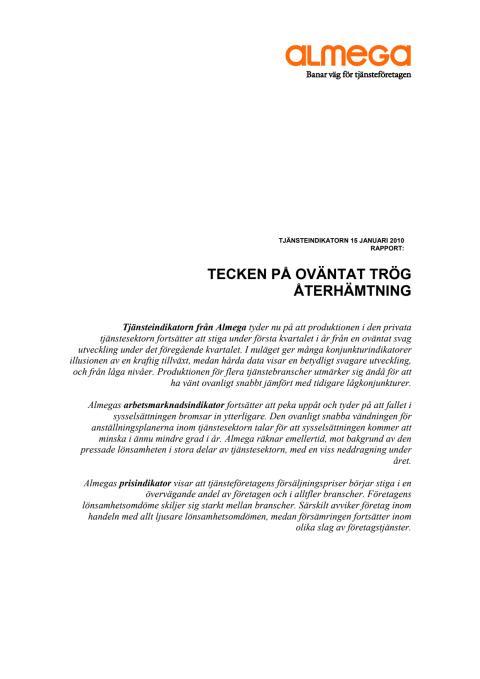 Almegas Tjänsteindikator första kvartalet 2010