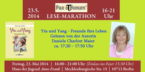 """Autorin Daniela Charlott-Maier liest aus Ihrem Buch """"Yin und Yang"""" bei  """"24 Stunden Buch""""/Pax et Bonum Verlag - Kleiner Lese-Marathon mit guten Büchern 23.05.2014 im Haus der Jugend Anne Frank."""
