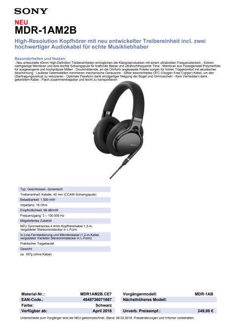 Datenblatt Kopfhörer MDR-1AM2 von Sony