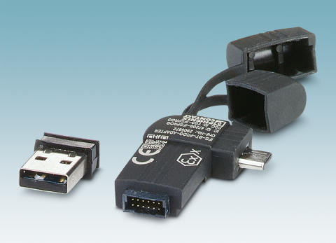 Bluetooth adapter for exchanging data with mobile devices