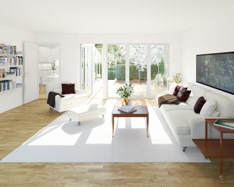 3D-visualisering av Atriumhusets vardagsrum.