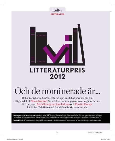 Nominerade Tidningen Vi:s litteraturpris 2012