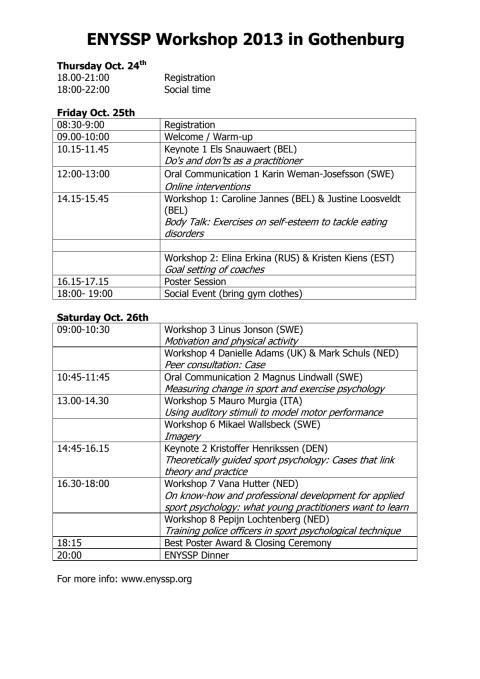 ENYSSP Workshop programme 2013