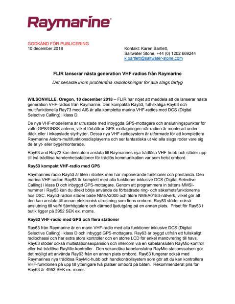 FLIR lanserar nästa generation VHF-radios från Raymarine