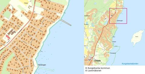 Karta över Fjärskogen i Onsala