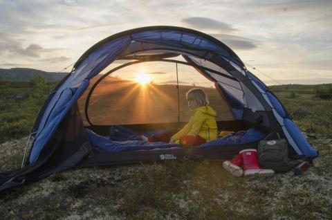 Tält i kvällsljus