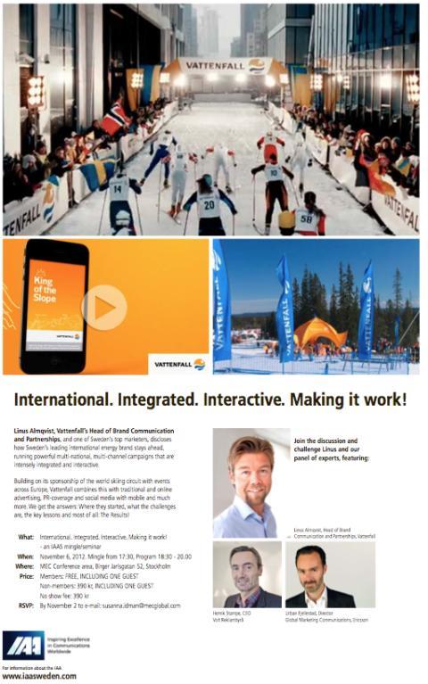IAA Sweden Vattenfall International Marketing Mingle-Seminar