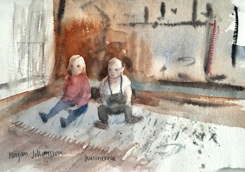 Kusinerna. Akvarell av Morgans Johansson