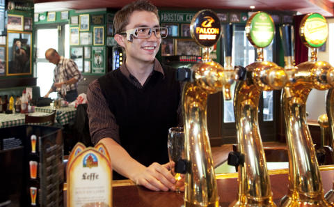 Tobii Glasses mobile eye tracker in a bar environment