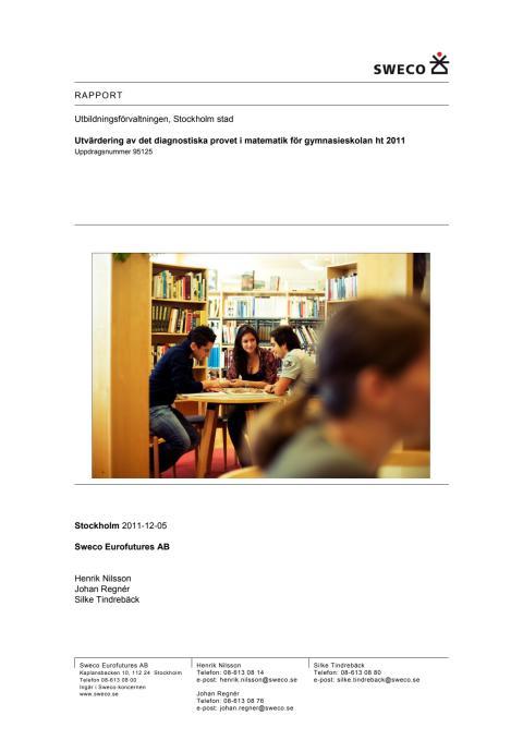 Rapport : Utvärdering av matematikprovet ht 2011