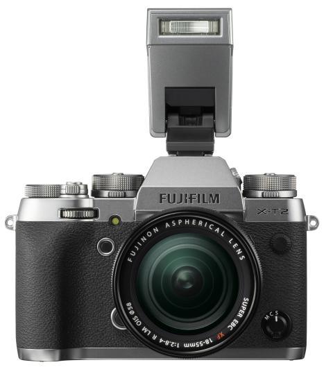 FUJIFILM X-T2 Graphite Silver with EF-X8 flash and XF18-55