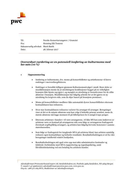 Pwc - rapport om kulturmoms for Norske Konsertarrangører og GramArt