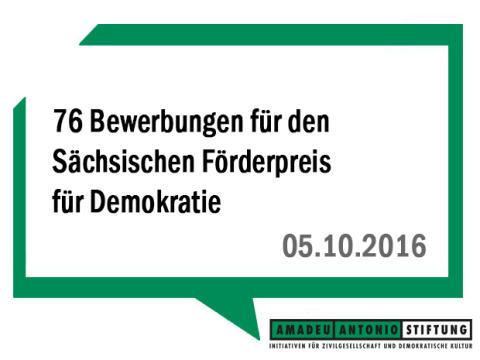 76 Bewerbungen für den Sächsischen Förderpreis für Demokratie: Preisverleihung am 8.11. in Dresden mit Laudatio von Prof. Dr. Thomas Fischer