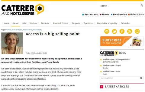 Access Is A Big Selling Point: Blue Badge Style founder, Fiona Jarvis, Featured In Caterer And Hotelkeeper