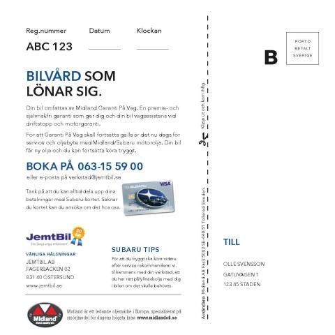 Subaru servicekallelse baksida