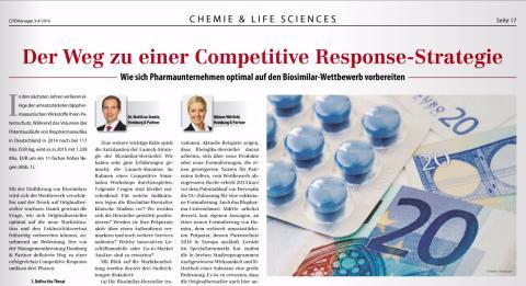 """Homburg & Partner im """"CHEManager"""": Wie sich Pharmaunternehmen optimal auf den Biosimilar-Wettbewerb vorbereiten"""