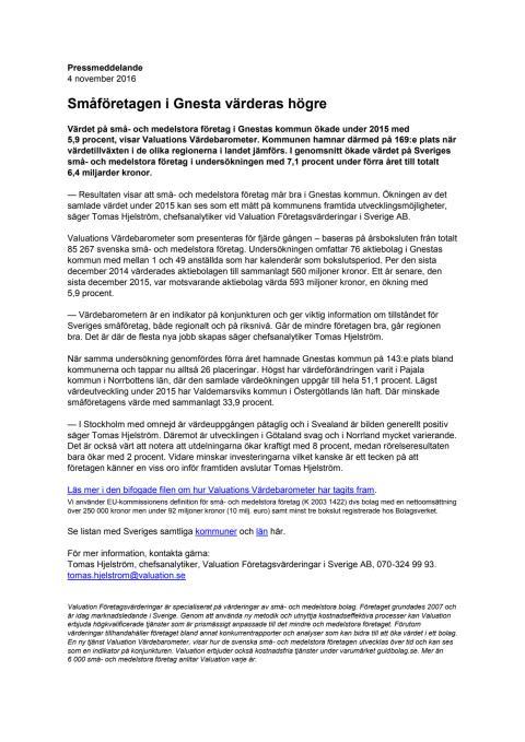 Värdebarometern 2015 Gnestas kommun