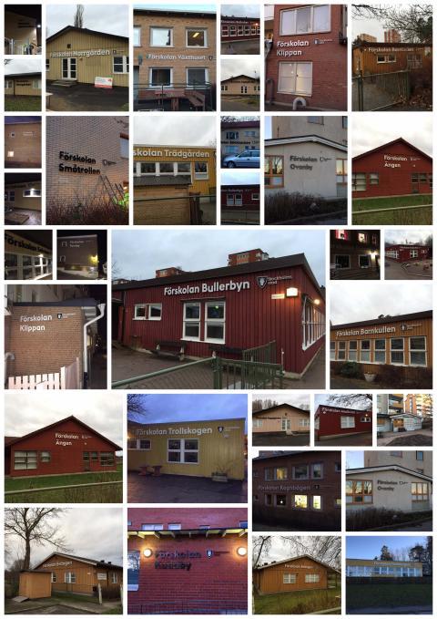 Utfört uppdrag inifrån belysta/obelysta fasadskyltar till förskolor, Rinkeby-Kista stadsdelsförvaltning