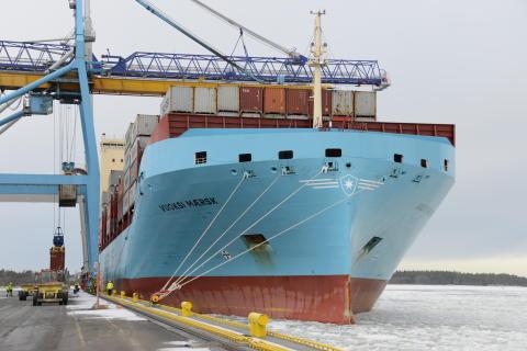 Vuoksi Maersk saapui Raumalle