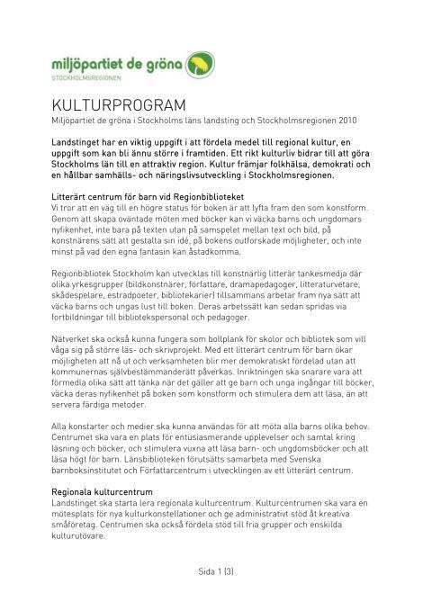Kulturprogram MP Stockholms läns landsting/MP Stockholmsregionen