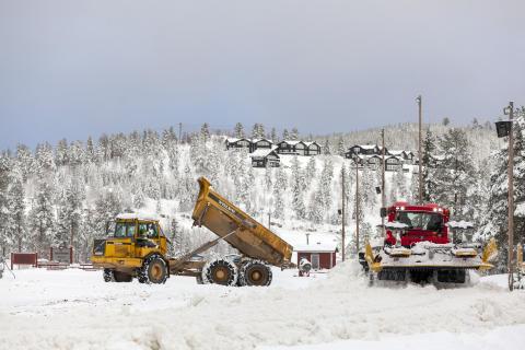 Snöutläggning i Orsa Grönklitt