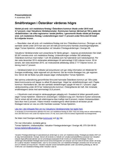 Värdebarometern 2015 Österåkers kommun