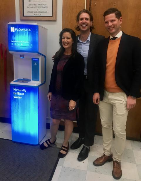 Blue CEO attends deployment of 85 FloWater refill stations in Oakland, California, geared to shift children from drinking sugary soda to pure water