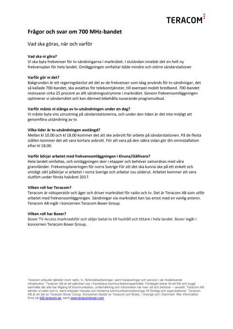 Frågor och svar om frekvensomläggningen