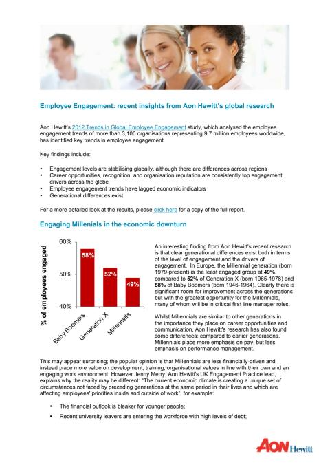 Employee Engagement: recent insights from Aon Hewitt's global research
