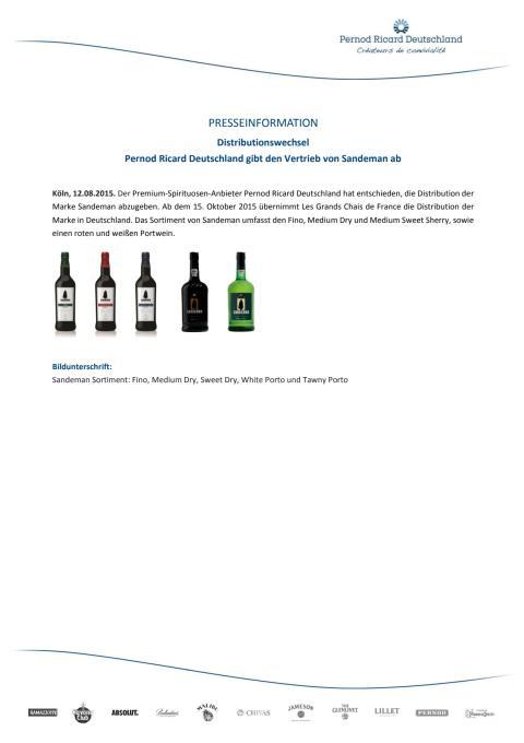 PRESSEINFORMATION - Distributionswechsel: Pernod Ricard Deutschland gibt den Vertrieb von Sandeman ab