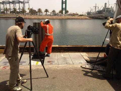Cavotec film crew shooting AMP pit systems at the POLA #Cavotecfilm #shorepower