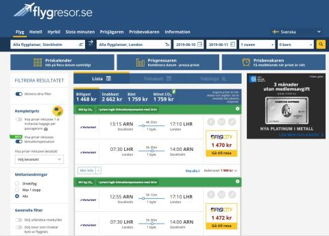 Klimatkompenserade flygpriser inkluderas nu hos Flygresor.se
