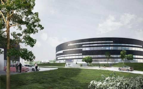 Als får endnu et markant, cirkulært erhvervsbyggeri | LINAK ekspanderer med en rund administrations- og produktionsbygning tegnet af Arkitema Architects