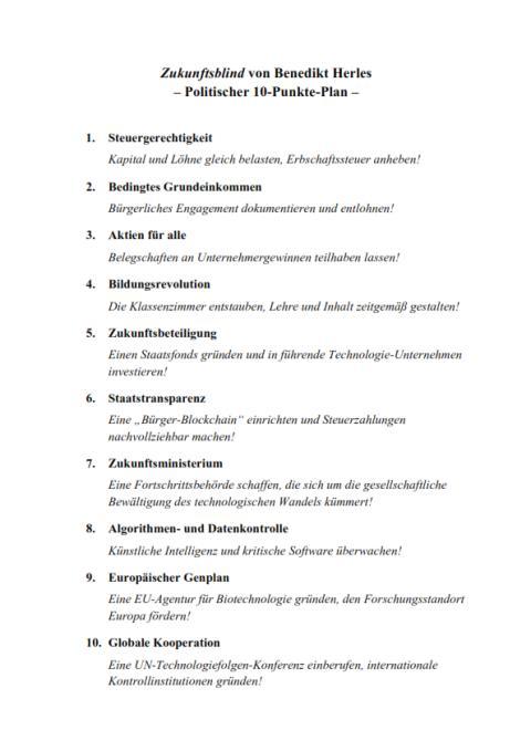 Zukunftsblind, Benedikt Herles' 10-Punkte-Plan