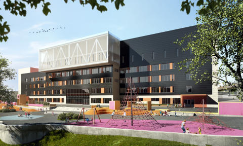 En helt ny 1-7 skole på Brynseng med plass til 840 elever og flerbrukshall. Foto: Ida Hexeberg HRTB Arkitekter.