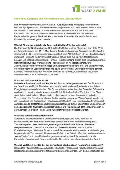 Factsheet Konzept Waste2Value