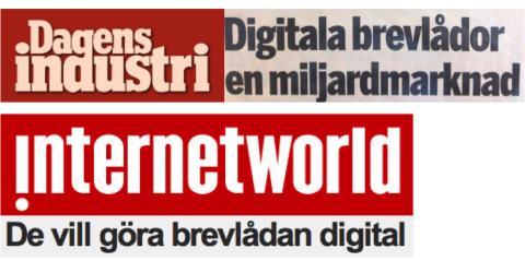 Dagens industri och internetworld skriver idag om den digitala brevlådan Kivra