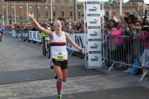 Lena Eliasson, Hässelby SK, vann damklassen i DN Stockholm Marathon 2014