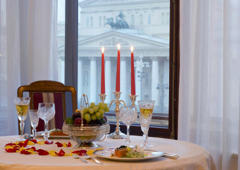 Suite im Hotel Metropol Moskau mit Blick auf das Bolshoi Theater